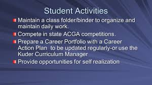 office of career guidance exploration and preparation career student activities maintain a class folder binder to organize and maintain daily work