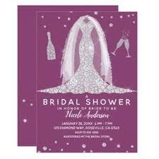 Glam <b>Diamond Wedding</b> Dress Berry Bridal Shower <b>Card</b>