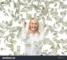 business w standing rain dollar bills stock photo  business w is standing in the rain of the dollar bills a concept of professional