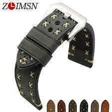 <b>ZLIMSN Watch Bands</b> Strap Genuine Leather Silver THICK Steel ...