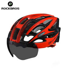 Online Shop <b>ROCKBROS Bicycle EPS Helmet</b> With Lenses ...