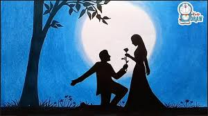How to draw scenery of moonlit night with <b>romantic love</b> ...