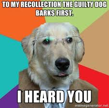 To my recollection the guilty dog barks first. I heard you ... via Relatably.com