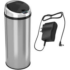 iTouchless 13 Gal. Round Automatic <b>Infrared Sensor Stainless Steel</b> ...