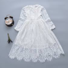 2019 New Fashion Kids <b>Girls Dress White</b> Long Sleeves Lace ...