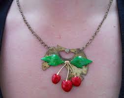 Cherry-<b>Steampunk</b>- Rockabilly- Necklace with <b>Hand Painted</b> ...