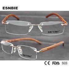 <b>ESNBIE Rimless</b> Eyeglasses for Men Rare Wood Frame <b>Glasses</b> for ...