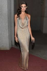 hollywood glamour: sara sampaio channelled old hollywood glamour in a vintage gucci gown and jewels by jacob amp