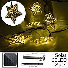 8 Working Modes Solar <b>LED</b> Star String Lights 12ft 20LED ...