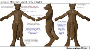 wip anthro wolf character designs polycount gramurn male reference sheet jpg