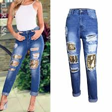 <b>Plus Size S</b>-<b>3XL</b> High Waist <b>Sequins</b> Ripped Trousers Skinny Long ...
