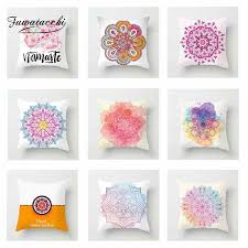 <b>Fuwatacchi</b> Multi <b>Color</b> Mandala Cushion Cover Pink Soft Throw ...