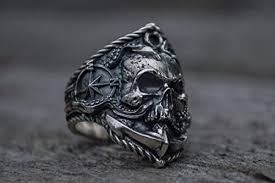 Skull Ring with Anchor Sterling Silver Unique Norse ... - Amazon.com