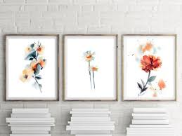 Flowers print set set of 3 floral art prints watercolor | Etsy