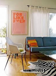 cool mid century living room with zebra rug chic zebra print rug