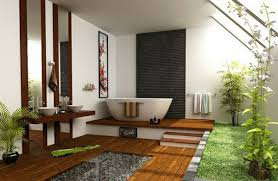 japanese style house bathroom design ideas wood flooring freestanding tub trees bonsai tree interior