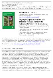 Phytogeographic survey on the endemic vascular flora of the ...