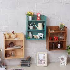 Vintage <b>Wall Mounted</b> Wooden <b>Storage Shelf</b> Creative <b>Three Layer</b> ...