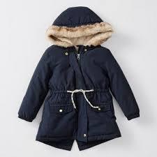 Girls <b>Faux Fur Trim Hooded</b> Parka Jacket - Navy Blue   Target ...