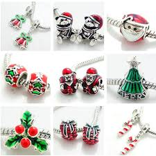 2pcs <b>Silver</b> Christmas European Charm Beads Fit 925 <b>Necklace</b> ...
