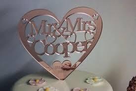 Personalised <b>Wedding</b> Cake Topper Mr&Mrs Rose <b>Gold Mirror</b> ...