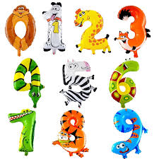 <b>16inch Animals Number</b> Foil Balloons Digit Helium Ballons | Shopee ...