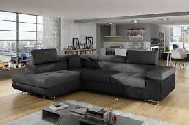 <b>Corner Sofa Bed</b> with Storage Upholstered in Fabric and <b>Synthetic</b> ...