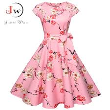 <b>Women</b> Summer Floral Dress 50s Vintage Casual <b>Elegant</b> Print <b>O</b> ...