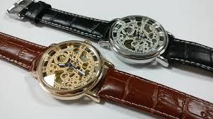 <b>Ouyawei</b> Genuine Leather Band <b>Skeleton</b> Gold Mechanical Watch ...