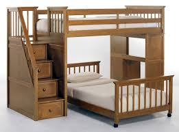 traditional brown wooden trundle bunk bed with banister footboard and desk also storage stair using ivory childrens bunk bed desk full