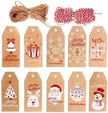 VEYLIN 100 Pieces <b>Christmas</b> Kraft <b>Gift</b> Tags <b>Xmas</b> Hanging Labels ...
