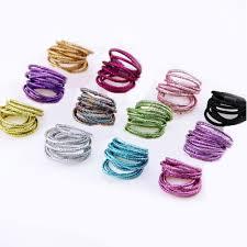 10Pc Glitter <b>Shining Lots</b> Kids Scrunchie Elastic Hair Band Girl ...