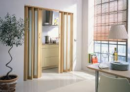 white kitchen windowed partition wall: excellent bifold doors as living room divider with handmade blinds