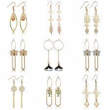 New Hollow Star Heart <b>Round</b> Gold <b>Drop Earrings</b> For Women ...