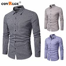 2019 <b>Covrlge</b> New Fashion Long Sleeve Formal <b>Men'S Striped</b> ...