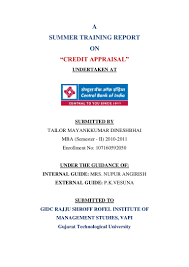 credit appraisal at central bank of