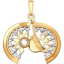 Золотой <b>кулон медальон SOKOLOV</b> 035329_s с фианитом ...