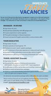 manager tour executive travel assistant job vacancy in sri lanka amadeus or galileo 2 years experience qualification in i ata or airline fares and ticketing is preferred ability to work