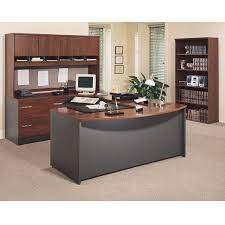 bbf bush series c package executive bow front u shaped desk hansen cherry hcpackageb bush desk hutch office