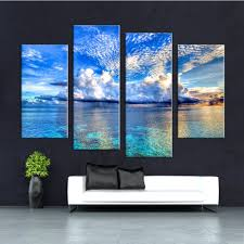 Wall Art Decor Canvas 4 Set Blue Ocean Scenery <b>Modular Painting</b> ...