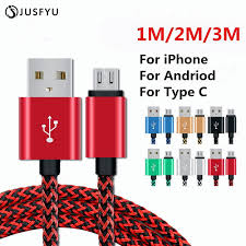 <b>1/2/3 Meter Braided Micro</b> USB Charging Cable For iPhone 5 5S 6S ...