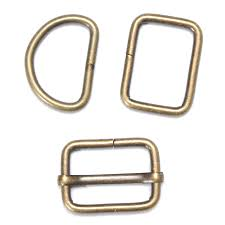 <b>10pcs Vintage</b> Copper Color Metal Buckle D Rings Bronze Triglide ...