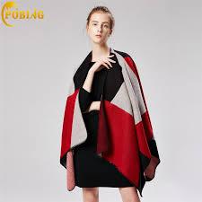POBING <b>Women</b> Poncho Winter Cashmere <b>Scarf Geometric</b> Towels ...