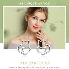 BAMOER <b>Hot Sale</b> Authentic <b>925 Sterling</b> Silver Cute Cat Small ...