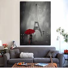 Red Umbrella Romantic Paris <b>City</b> Eiffel Tower Oil Painting <b>HD Print</b> ...