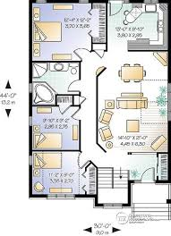 House plan W detail from DrummondHousePlans com st level Simple bedroom bungalow home plan   open floor plan concept  ideal for