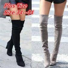 2018 New Faux Suede <b>Slim Boots Sexy</b> Over The Knee High ...