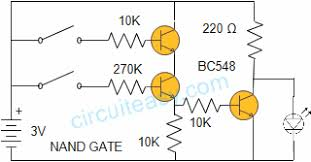 nand gate   electronics projects and circuit made easynand gate circuit diagram