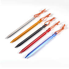 <b>5pcs Tent Pegs 18cm</b> Aluminum Tent Stake with Rope Outdoor Tent ...