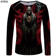 <b>KYKU Brand Skull</b> Long sleeve <b>T</b> shirt Men grim Reaper Tshirt ...